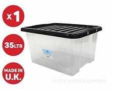 35 LITRI scatola di immagazzinaggio di plastica con coperchio nero! pesanti forte BOX-SCATOLA utile!!!