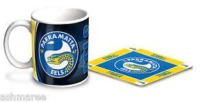 NRL Parramatta Eels 330ml Coffee Mug / Coffee Cup & Cork Coaster Gift Set