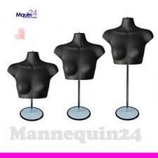 One Black Female Chest Torso Mannequin with Stand + Hanger for Hanging