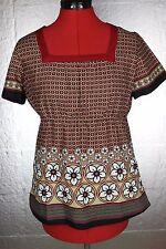 KOI Boho Floral Geo Square Neckline Empire Waist SS Pockets Scrub Top Uniform S