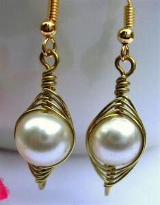 Freshwater Pearl Earrings Gold Wire Wrapped Herringbone Style USA HANDMADE White