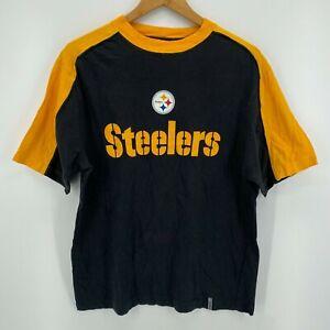 Reebok T-Shirt Men's Size M Black Pittsburgh Steelers Football Color Block