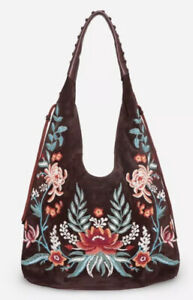 Johnny Was Embroidered Soft Hobo Tote Bag NWT$528