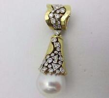 Seidengang 18K Yellow Gold 14 mm South Sea Pearl and diamond pendant enhancer