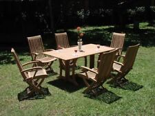 """Warwick A-Grade Teak 7pc Dining 69"""" Rect Console Table 6 Reclining Arm Chair Set"""