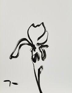 JOSE TRUJILLO - Minimalist Art ACRYLIC on Paper PAINTING 9x12 IRIS FLOWER SIGNED