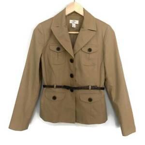 Ann Taylor LOFT Womens Belted Safari Jacket Beige Khaki Long Sleeve Petites 4P