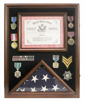 Military Shadow Box Flag Display Case for a 3'X5' Home/Flown Flag, see details