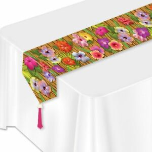 Luau Party Hibiscus Paper Table Runner Luau Decorations & Flower Party Supplies