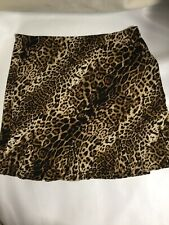 Susan Graver Women Size 2X Brown Animal Print Stretch With Godets Skirt. T11