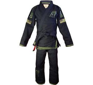 New Fuji Sports Combatives Mens Brazilian Jiu-Jitsu BJJ Gi - Black w/ Green