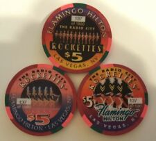 $5 Las Vegas Flamingo Hilton Rocketttes Chip Set of 3 with Matching Numbers #137
