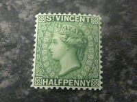 ST VINCENT POSTAGE STAMP SG42 HALF PENNY GREEN 1884 VERY LIGHTLY-MOUNTED MINT
