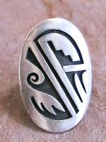 VINTAGE GARY & AND ELSIE YOYOKIE HOPI TRIBAL PICTOGRAPH STERLING SILVER 925 RING