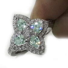3.15Ct VVS1<Ice Blue Pear Moissanite Diamond Engagement Wedding 925 Silver Ring
