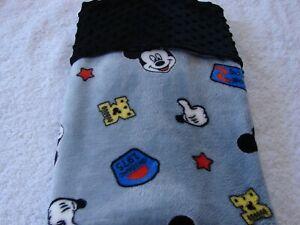 Mickey Mouse Grey Reversible Black Minky/Fleece BabyHandmade Blanket
