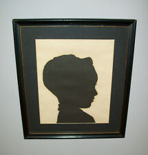 Old Vtg 1960s Large Hollow Cut Silhouette of Young Boy Very Nice Framed