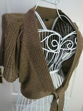 Marks & Spencer Bronze Occasion Cardigan Size 14 Front Ties Bolero Shrug Evening