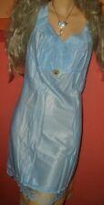 Sinnliches Vintage ladylike Unterkleid Gr. 46 azurblau Pin Up Negligee OVP (H618