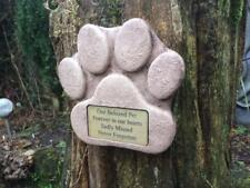 Dog Paw Stone Memorial with Gold Plaque for Garden or where ashes scattered
