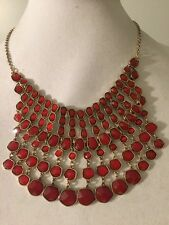 $79 Lucky Brand Gold Tone Orange / Red Stone Large Bib Necklace #307 (2)