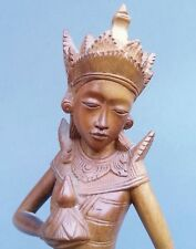Vintage Bali finely carved hard wood statue of Hindu Goddess Parvati 12 inches
