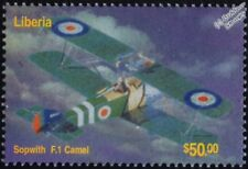 WWI RFC/RAF SOPWITH CAMEL F1 Biplane Fighter Aircraft Stamp (2003 Liberia)