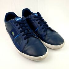 LACOSTE Dreyfus Mens Sport Casual Leather Boat Shoes Size 13 Blue/White