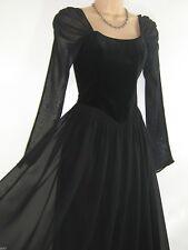 LAURA ASHLEY VINTAGE BLACK VELVET MEDIEVAL/GOTHIC EVENING FESTIVE DRESS,14 (16)
