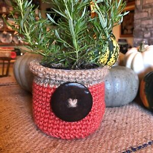 Jute Herb Plant Pot Basket Orange Flower Pot Wooden Button Handmade