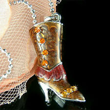 3D w Swarovski Crystal Topaz Brown ~COWBOY WESTERN BOOTS HIGH HEEL SHOE Necklace
