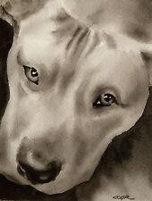 Pit Bull Terrier Art Print Sepia Watercolor Painting by Artist DJR