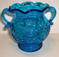 VTG SHORT BLUE GLASS 2 HANDLE VASE BOWL GRAPE VINE PATTERN RUFFLED EDGE - MINT!