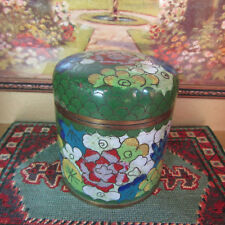 Antique CLOISSONNE CHINESE TIN Enamel Tea Can Canister Trinket Snuff Box Inlaid