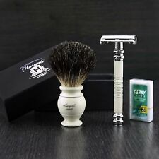 Double Edge Safety razor Ivory-Colour Badger Shaving Brush 2-Piece shaving Set