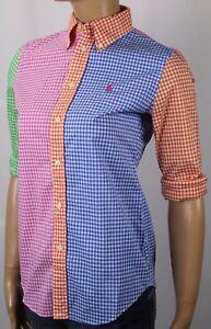 Ralph Lauren Blue Green Orange Pink Custom Fit Blouse Shirt NWT