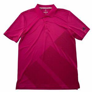 Adidas Polo Shirt Mens Medium Magenta Pink Bold Oversize 3 Stripe Logo Golf