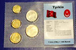 Turkey 50- 2500 lira 1990-1993 XF UNC Circulation Coin Set - World Currencies