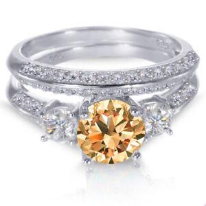 White Gold Sterling Silver Brilliant Natural Citrine Wedding Engagement Ring Set