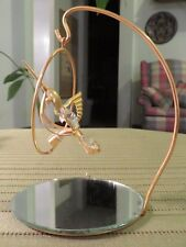 Gold Tone Hanging Metal Hummingbird w Faux Crystal Accents Hook Mirror Base