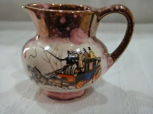 Vintage Purple Splatter Pitcher Horses & Carriage Old Castle England Miniature