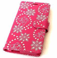 """ALCATEL Fierce 4 / Pop 4+ 5.5"""" - Pink Glitter Butterfly Flower Card Wallet Case"""