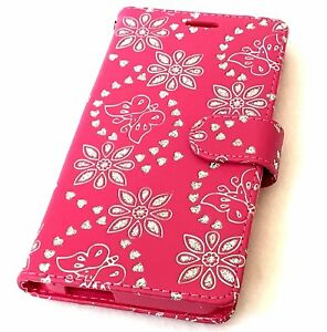"ALCATEL Fierce 4 / Pop 4+ 5.5"" - Pink Glitter Butterfly Flower Card Wallet Case"