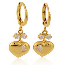 Lovely 9K Gold Filled Clear Heart CZ Women's Dangle Earrings,14ER0609