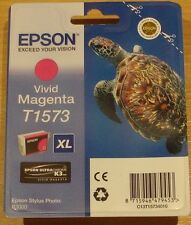 GENUINE EPSON T1573 Vivid Magenta cartridge ORIGINAL TURTLE 157 ink R3000 (2019)
