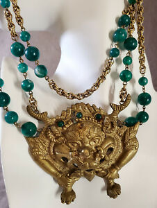 Vintage Asian Cast Brass Pendant Beast Buddhism Amulet Necklace