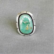 Big Heavy Native American Signed Sterling Green Turquoise Ring Size 8