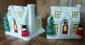 Pair of Festive Bath and Body Works Ceramic Holiday House Hand Soap Holder *NEW*
