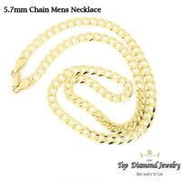 14K Yellow Gold Italy Men's Cuban Curb Link Solid Chain Necklace 5.7 mm