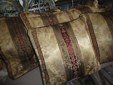 CROSCILL TOWNHOUSE BURGUNDY GREEN GOLD (4PC) KING PILLOW SHAMS & PILLOWS